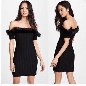 For love & lemons knitz bon bon fur trim dress